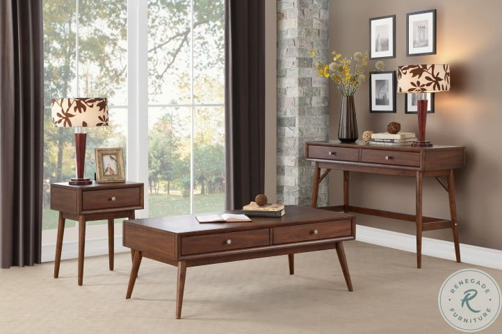 Frolic Brown 2 Drawer Occasional Table Set