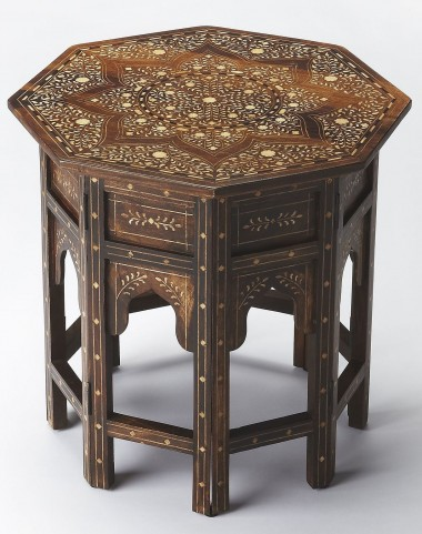 """Bone Inlay 20"""" Wood Accent Table"""