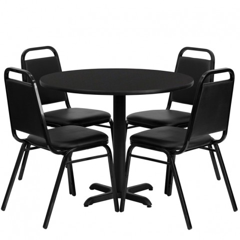 "36"" Round Black Table Set with Black Trapezoidal Back Banquet Chairs"
