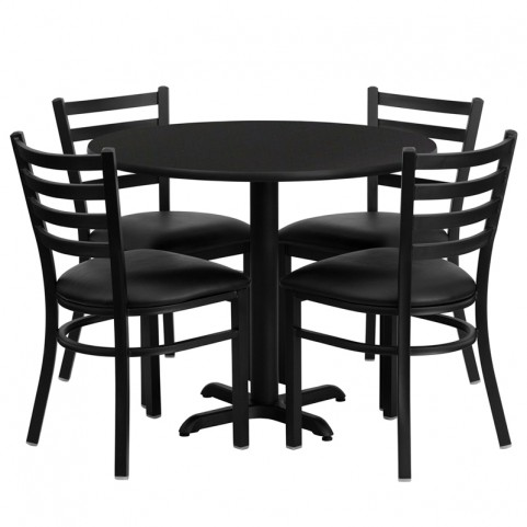 "36"" Round Black Table Set with Ladder Back Black Vinyl Chair"