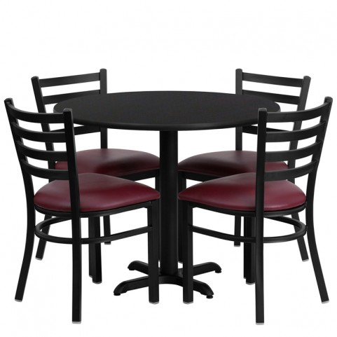 "36"" Round Black Table Set with Ladder Back Burgundy Vinyl Chair"