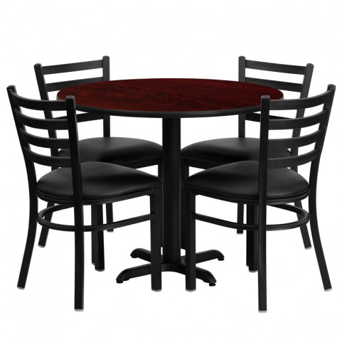 "36"" Round Mahogany Table Set with Ladder Back Black Vinyl Chair"