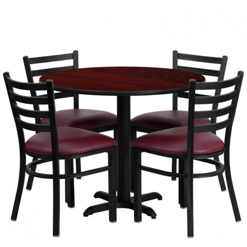 "36"" Round Mahogany Table Set with Ladder Back Burgundy Vinyl Chair"