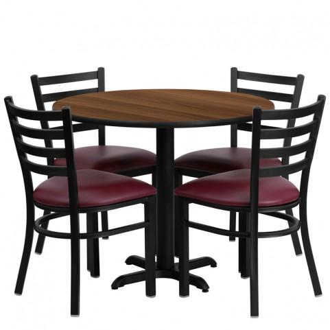 "36"" Round Walnut Table Set with Ladder Back Burgundy Vinyl Chair"