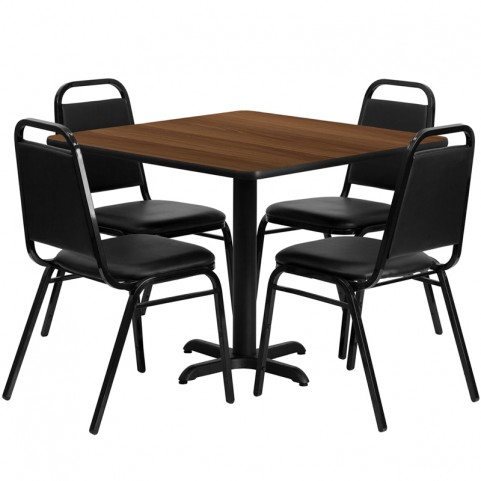 "36"" Square Walnut Table Set with Black Trapezoidal Back Banquet Chairs"