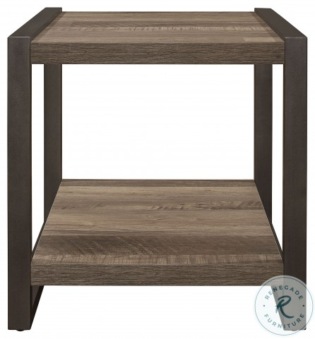Dogue Brown And Gunmetal End Table