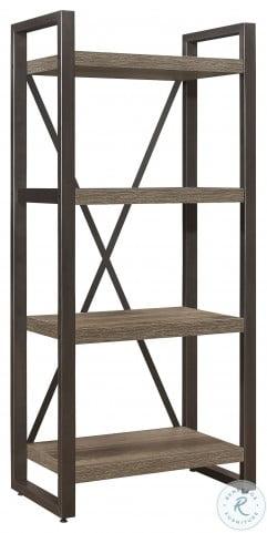 Dogue Brown And Gunmetal 4 Shelf Bookcase