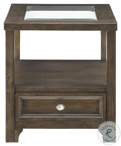 Auburn Brown Cherry Glass Top Occasional Table Set With Casters
