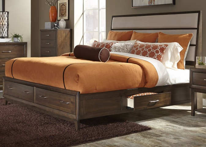 Hudson Square Espresso Queen Two Sided Panel Storage Bed