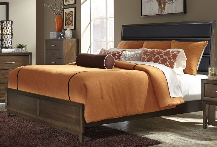 Hudson Square Espresso Queen Upholstered Platform Bed