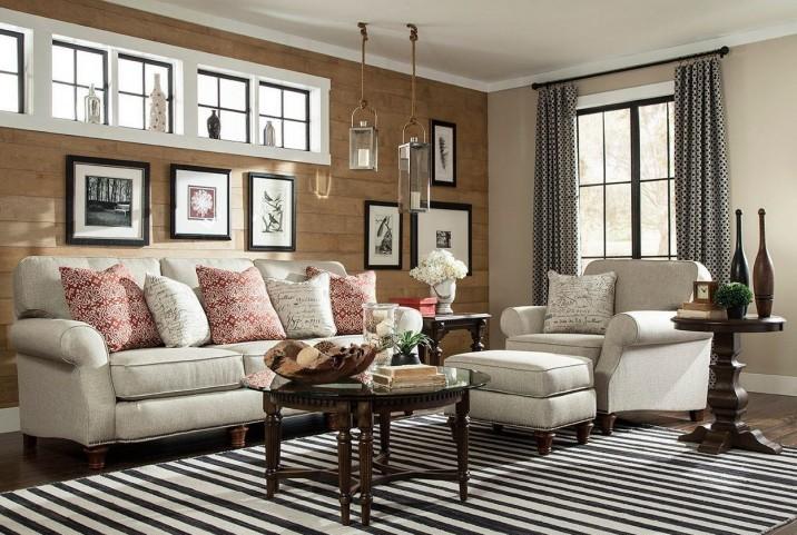Whitfield Walnut Woven Fabric Living Room Set