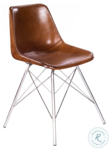 Inland Light Brown Leather Side Chair