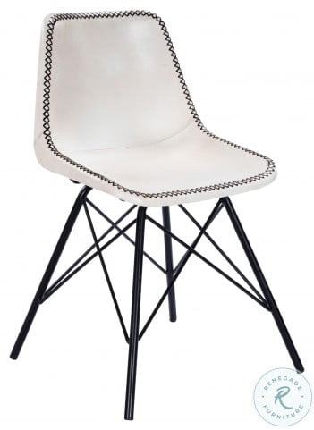 Inland White And Black Leather Side Chair