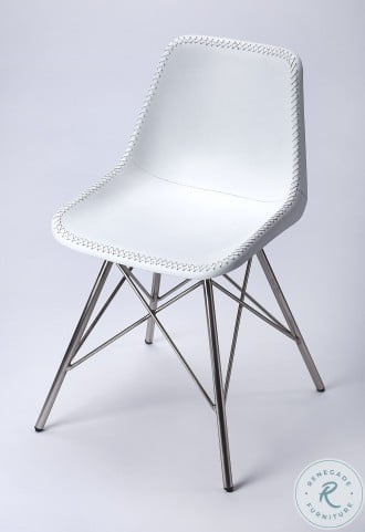 Inland White Leather Side Chair