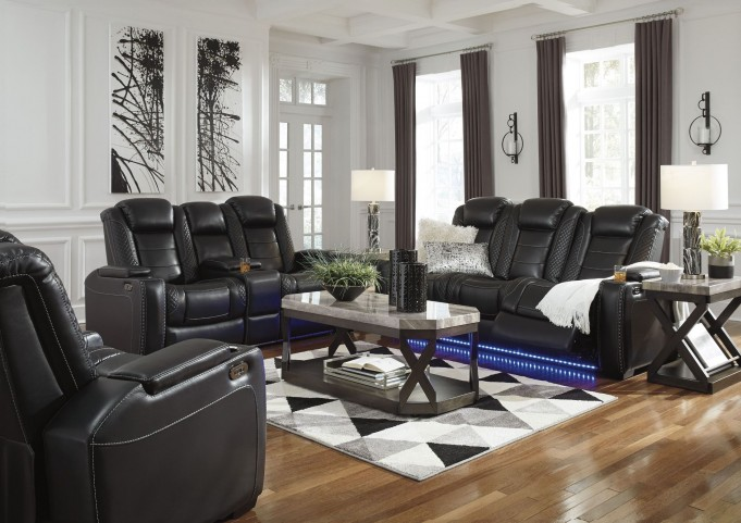 Party Time Midnight Power Reclining Living Room Set With