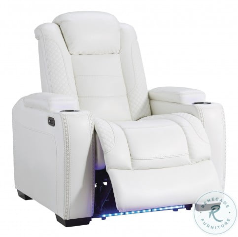 Party Time White Power Reclining Living Room Set With Power Headrest