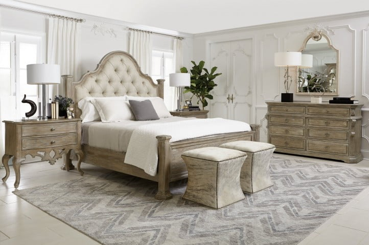 Admirable Campania Weathered Sand Upholstered Poster Bedroom Set Interior Design Ideas Clesiryabchikinfo