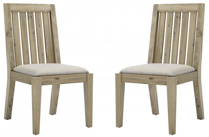 Harbourside Weathered Acacia Slat Back Side Chair Set of 2