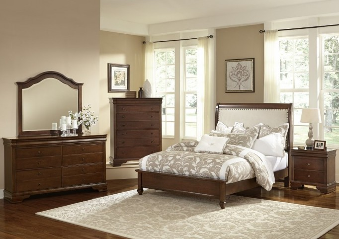 French Market French Cherry Youth Upholstered Panel Bedroom Set