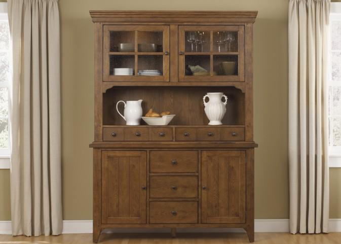 Hearthstone Rustic Oak Buffet With Hutch