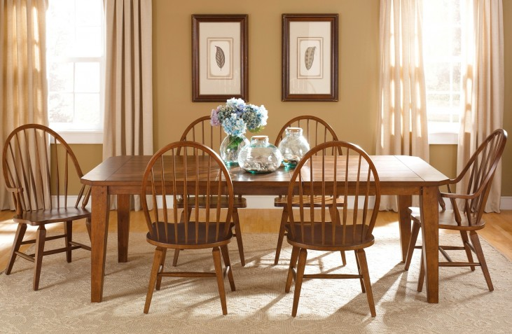 Hearthstone Rectangular Leg Extendable Dining Room Set