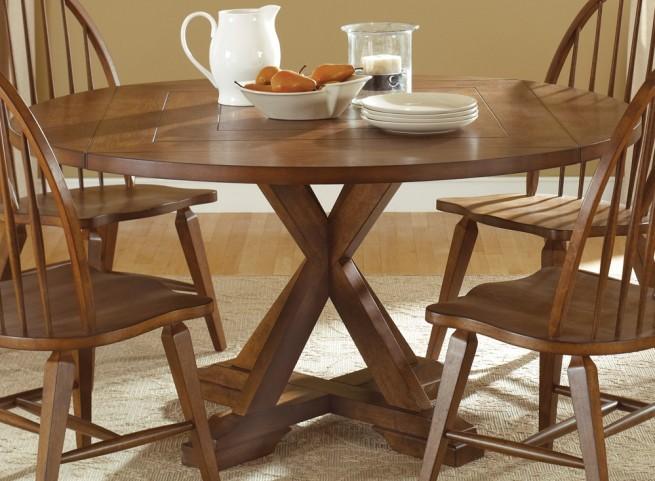 Hearthstone Rustic Oak Drop Leaf Extendable Pedestal Table