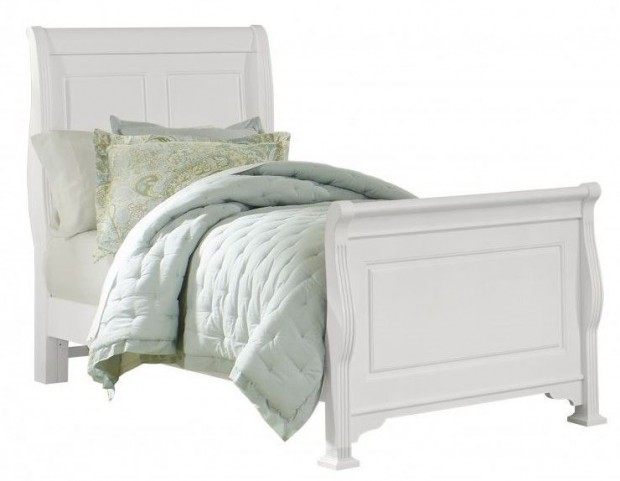 French Market Soft White Twin Sleigh Bed