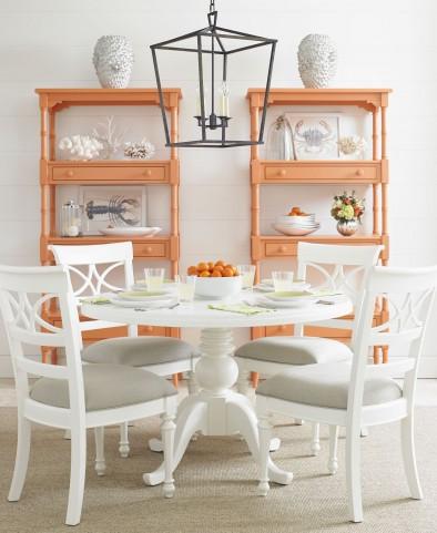 Coastal Living Retreat Saltbox White Round Painted Top Pedestal Dining Room Set
