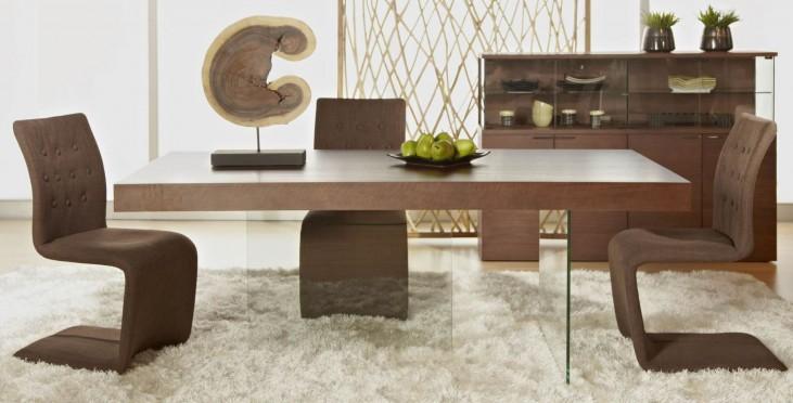 Cleo Blain Dark Walnut Rectangular Dining Room Set with Regis Forma Dining Chairs