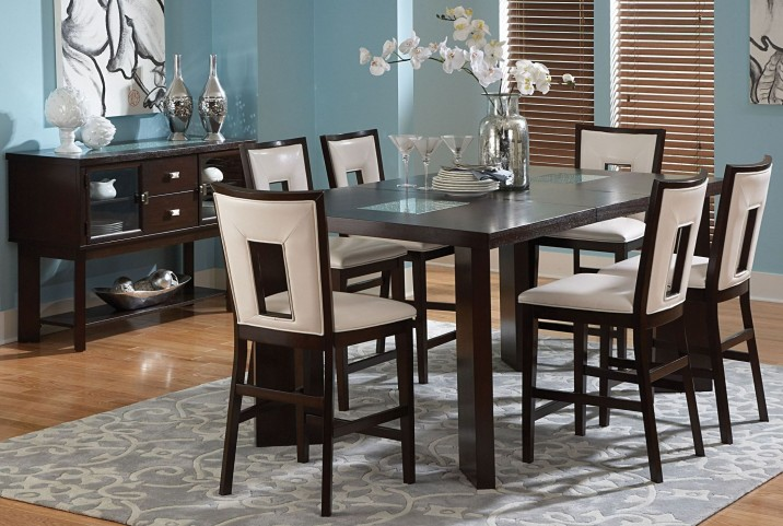Delano Espresso Cherry Extendable Counter Height Dining Room Set