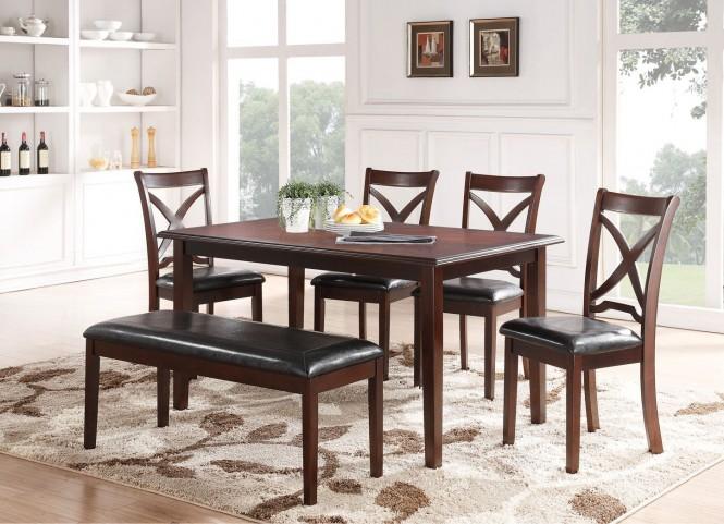 Milo Espresso 6Pc Rectangular Dining Table Set