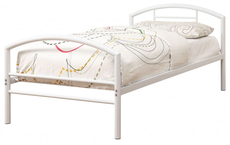 Baines White Twin Metal Panel Bed