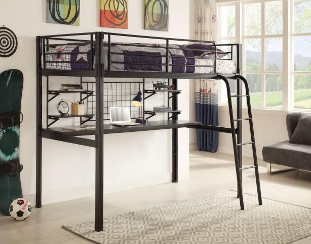 Boltzero Black Twin Loft Workstation Bed