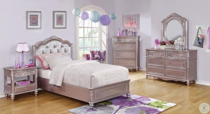 Caroline Metallic Lilac Youth Panel Bedroom Set From Coaster Coleman Furniture