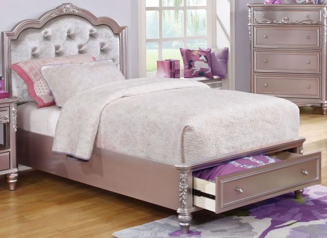 Caroline Metallic Lilac Twin Storage Platform Bed