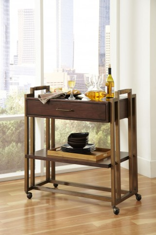 Modern Harmony Burnished Walnut Serving Cart