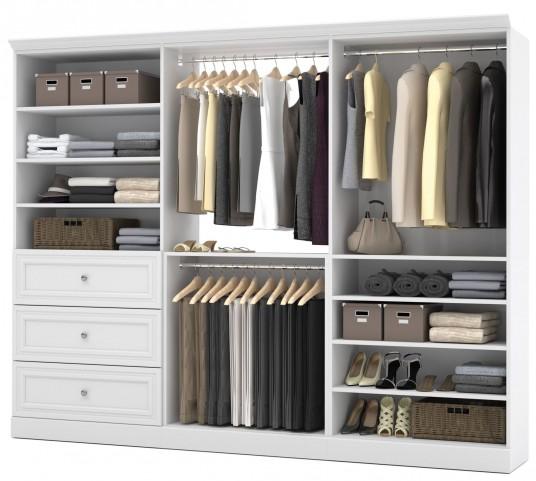 Versatile White 108'' Storage Wardrobe
