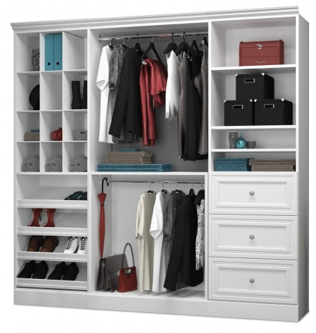 Versatile White 86'' Storage Wardrobe