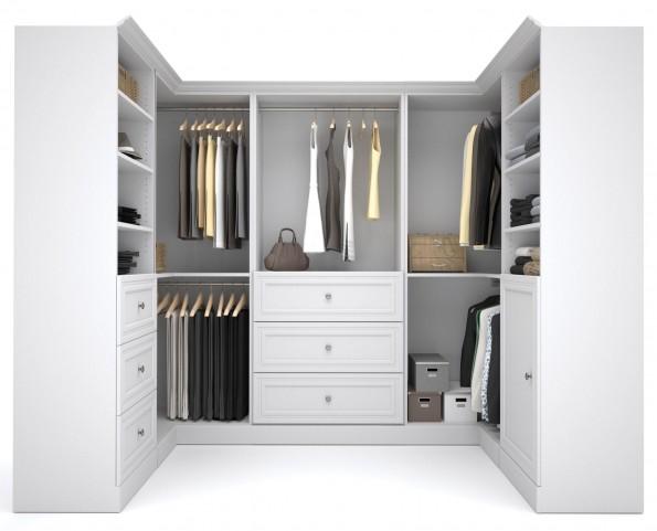 Versatile White 108'' Corner Storage Wardrobe