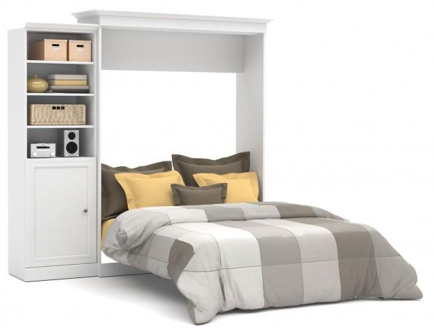 Versatile White 92'' Door Storage Queen Wall Bed