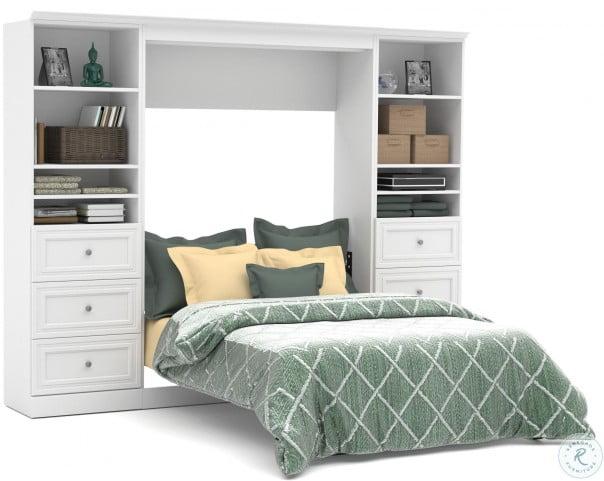 Versatile White 109'' Drawer Full Wall Bed