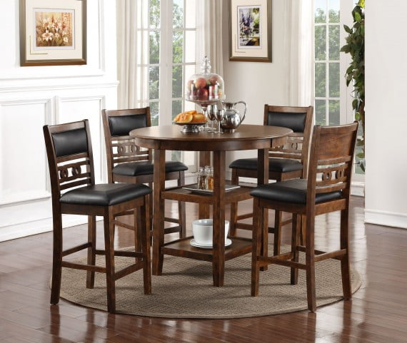 Brown Traditional 5 Piece Round Dining Set Cally: Gia Cherry 5 Piece Round Counter Height Dining Room Set