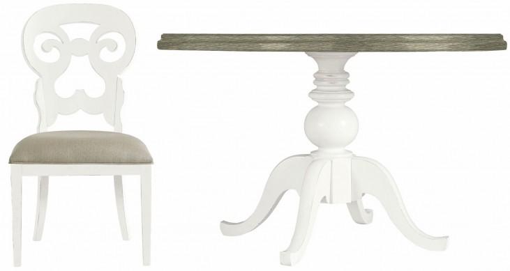 Coastal Living Retreat Saltbox White Round Pedestal Wood Top Dining Room Set