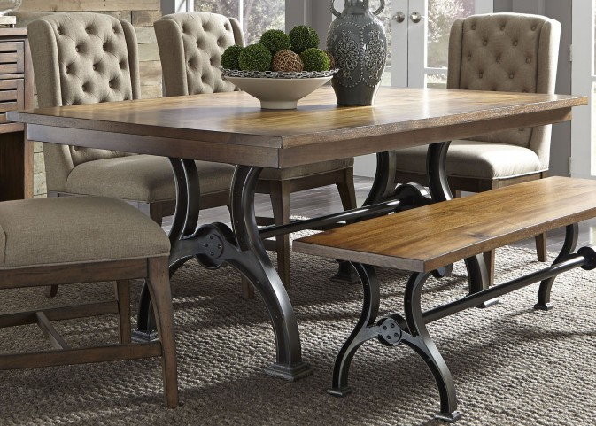Arlington House Cobblestone Brown Trestle Dining Table