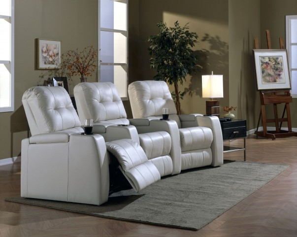 Record Leather Power Reclining Home Theatre Seating