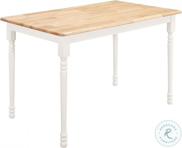 4147 Natural and White Rectangular Leg Dining Table