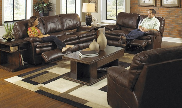 Perez Chestnut Reclining Living Room Set