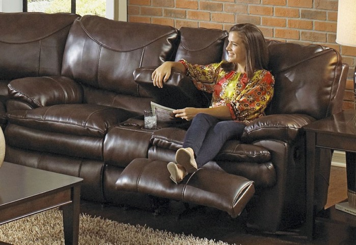Perez Chestnut Reclining Loveseat with Console