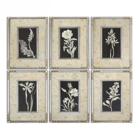 Glowing Florals Framed Art Set of 6