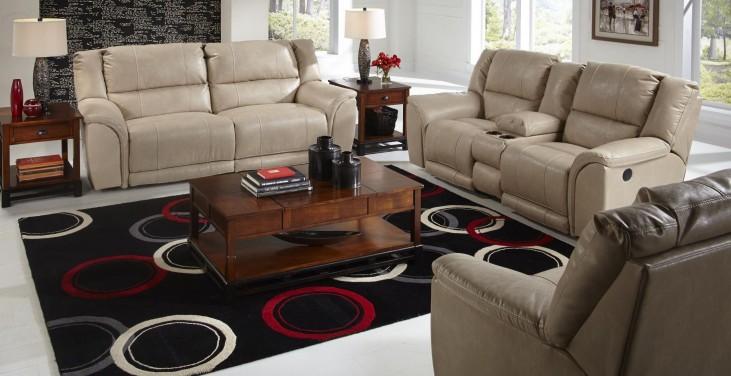 Carmine Pebble Reclining Living Room Set